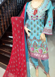 SDQ47 Readymade Blue Embroidered Lawn Suit - Memsaab Online