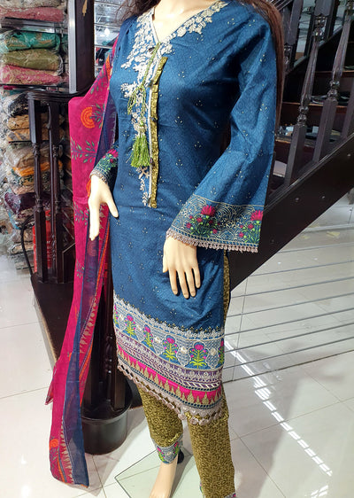 SDQ48 Readymade Blue Embroidered Lawn Suit - Memsaab Online