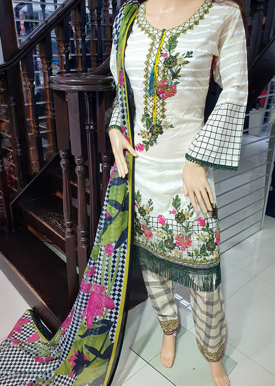SDQ51 Readymade Cream Embroidered Lawn Suit - Memsaab Online