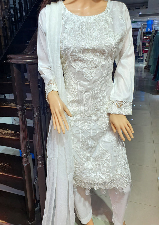 SDQ52 Readymade White Embroidered Organza Net Suit - Memsaab Online