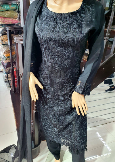 SDQ52 Readymade Black Embroidered Organza Net Suit - Memsaab Online