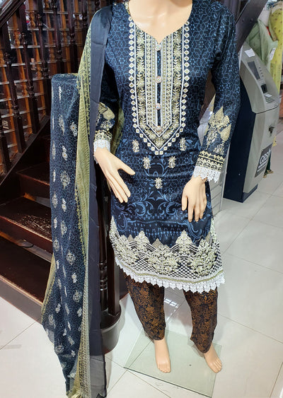 SDQ54 Readymade Blue Premium Embroidered Lawn Suit - Memsaab Online