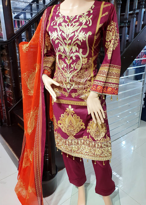 SDQ56 Readymade Red Premium Embroidered Lawn Suit - Memsaab Online