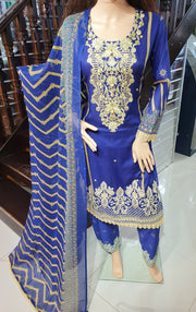 SDQ58 Readymade Blue Premium Embroidered Lawn Suit - Memsaab Online