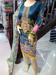 SDQ59 Readymade Teal Premium Embroidered Lawn Suit - Memsaab Online