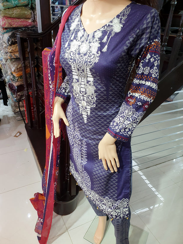 SDQ60 Readymade Purple Premium Embroidered Lawn Suit - Memsaab Online