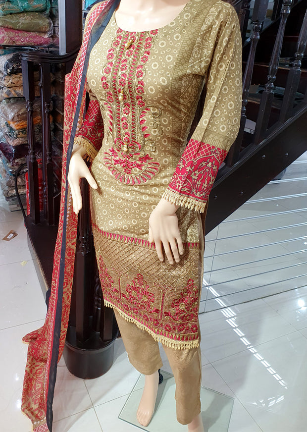 SDQ61 Readymade Light Brown Premium Embroidered Lawn Suit - Memsaab Online