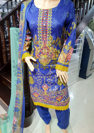 SDQ62 Readymade Blue Premium Embroidered Lawn Suit - Memsaab Online