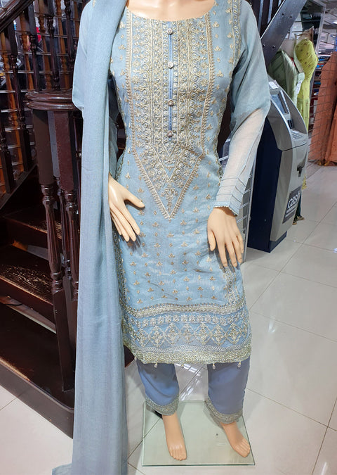 SDQ63 Readymade Grey Masuri Cotton Net Suit - Memsaab Online