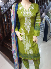 SDQ64 Readymade Green Premium Embroidered Lawn Suit - Memsaab Online