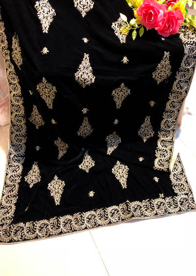 Black Embroidered Velvet Shawl - Memsaab Online