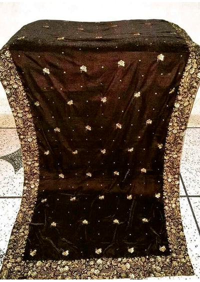 Brown Embroidered Velvet Shawl - Memsaab Online