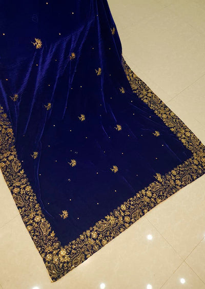 SHA12 Blue Embroidered Velvet Shawl - Memsaab Online