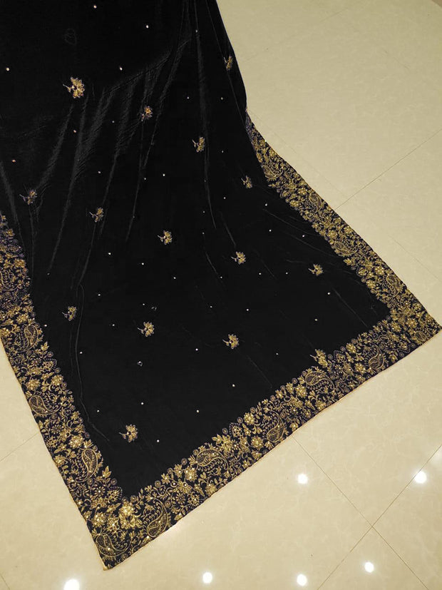 SHA12 Black Embroidered Velvet Shawl - Memsaab Online