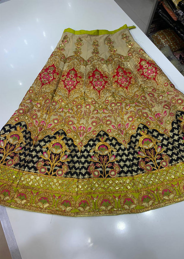 SHB6213- A Black Embroidered Multicolour Skirt - Memsaab Online