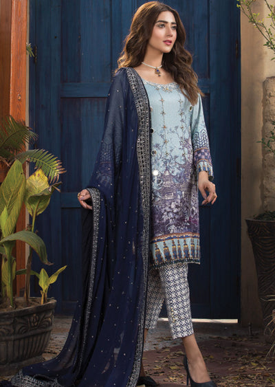 Saphire Fantasy - Ready to Wear Embroidered Linen Suit - Crisanthe by Sofia Khas - Memsaab Online