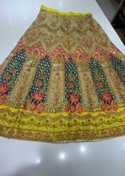 SHB6212- E Teal Embroidered Multicolour Skirt - Memsaab Online