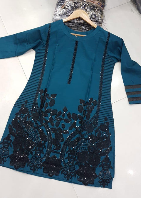 ZA527 TEAL Readymade Linen Embroidered Kurti - Memsaab Online