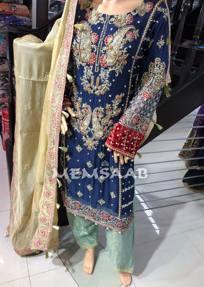 TF981 READYMADE - Maria B INSPIRED Suit with Handwork - Pakistani Designer Suit - Memsaab Online