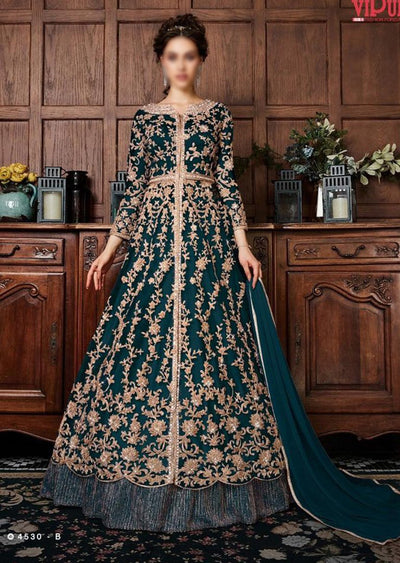 V453 Teal - Vipul Inspired Anarkali Dress - Unstitched - Indian Bollywood Designer Dress - Memsaab Online