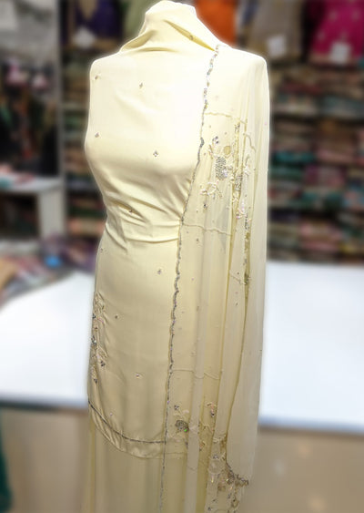 GT331 - D - Unstitched Crepe with Heavy Dupatta Suit - Memsaab Online