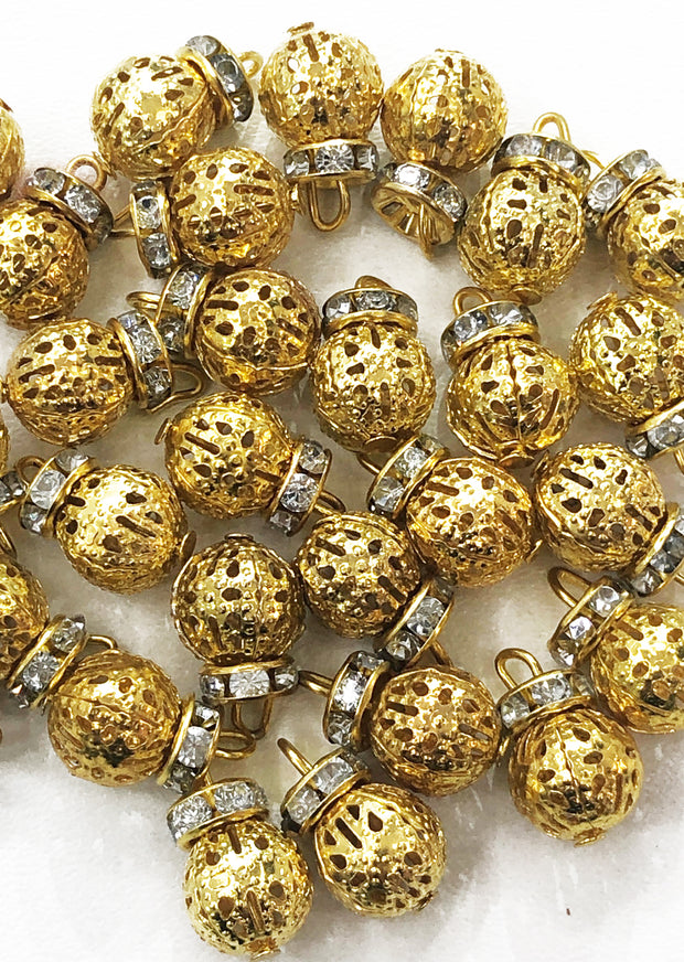 4 x Gold Round Metal Bead with Diamante Work - Pakistani Indian ethnic Beads Hangings Embellishments Pearls - Memsaab Online