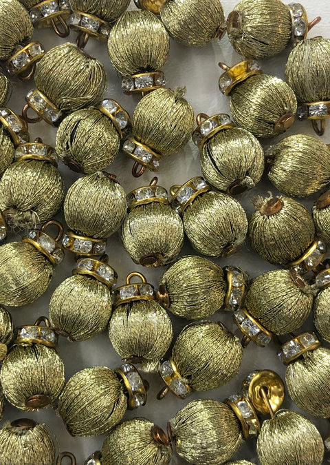 4 x Green Threaded Beads - Pakistani Indian ethnic Beads Hangings Embellishments Pearls - Memsaab Online