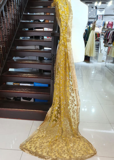 DXP01 Yellow Embroidered Net Duppatta - Memsaab Online