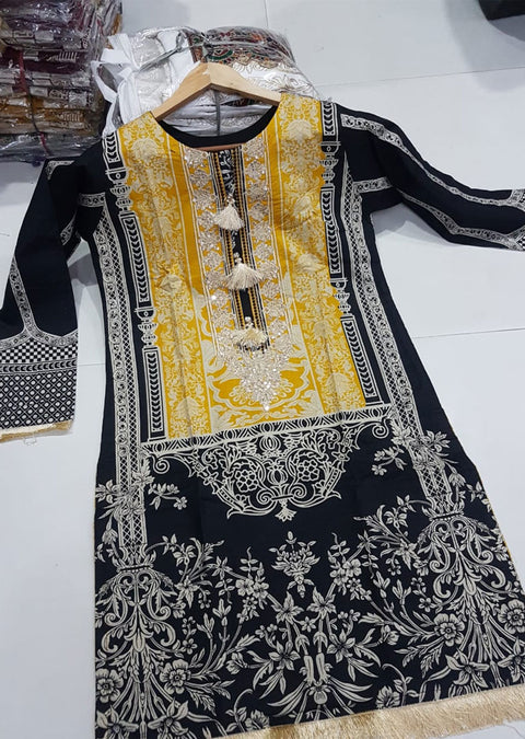 ZA502 Black Readymade Winter Viscose Embroidered Kurti - Memsaab Online