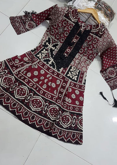 ZA505 Readymade Cotton Embroidered Kurti - Memsaab Online