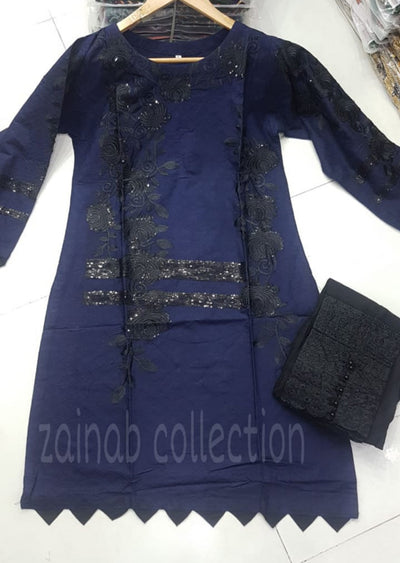 ZA506 Navy Readymade Linen Embroidered Kurti - Memsaab Online