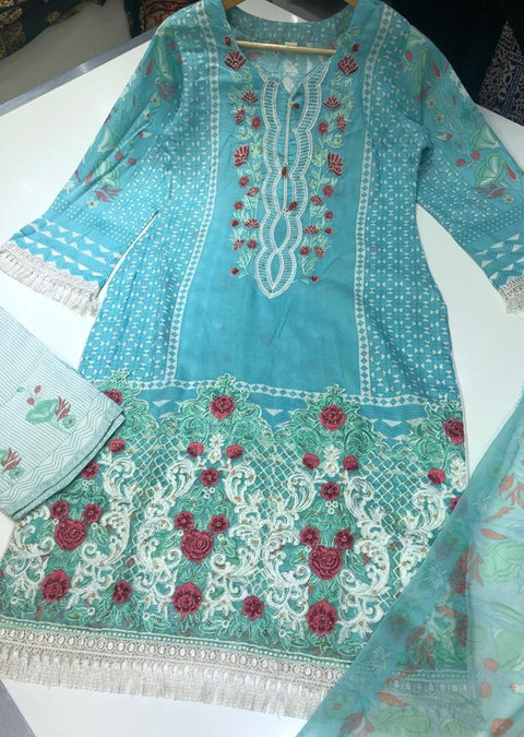 ZAS8807 Light Blue Readymade linen suit with chiffon Duppatta - Memsaab Online