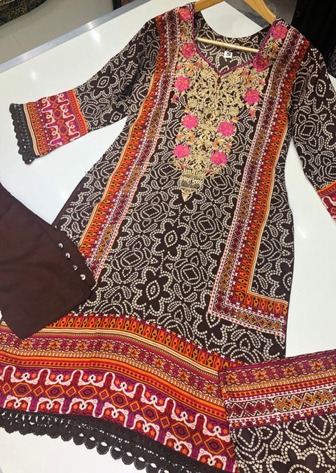 ZAS9904 Brown Readymade linen suit with shawl - Memsaab Online
