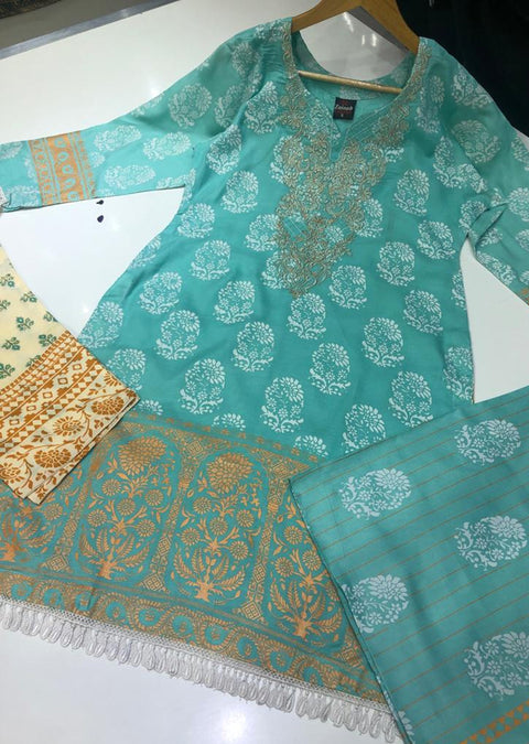 ZAS9906 Aqua Readymade linen suit with Shawl - Memsaab Online
