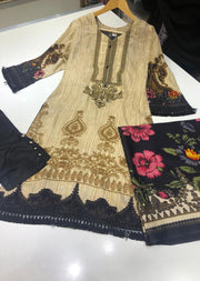 ZAS9911 Gold Readymade linen suit with Shawl - Memsaab Online