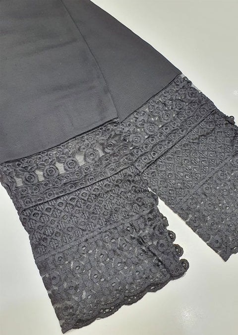 ZAT102 Black Embroidered Linen Trouser - Memsaab Online