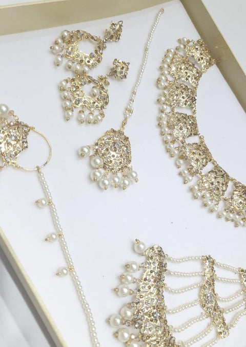 ZEENAT Gold - Aari Gold Plated Necklace Set with Fresh Water Pearls - Memsaab Online
