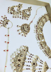 ZEENAT Maroon - Aari Gold Plated Necklace Set with Fresh Water Pearls - Memsaab Online