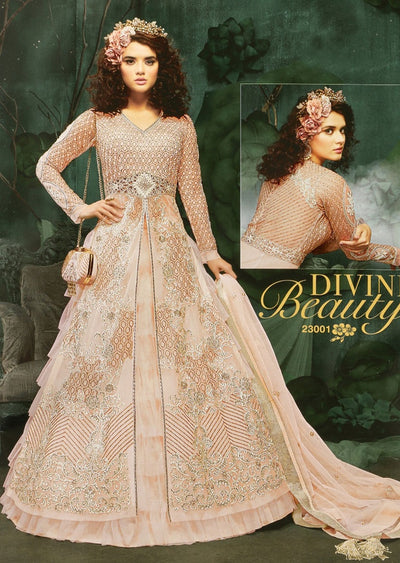 ZM23001 Unstitched - Peach - Memsaab Zoya Amrose - Indian Embroidered Dress - Memsaab Online