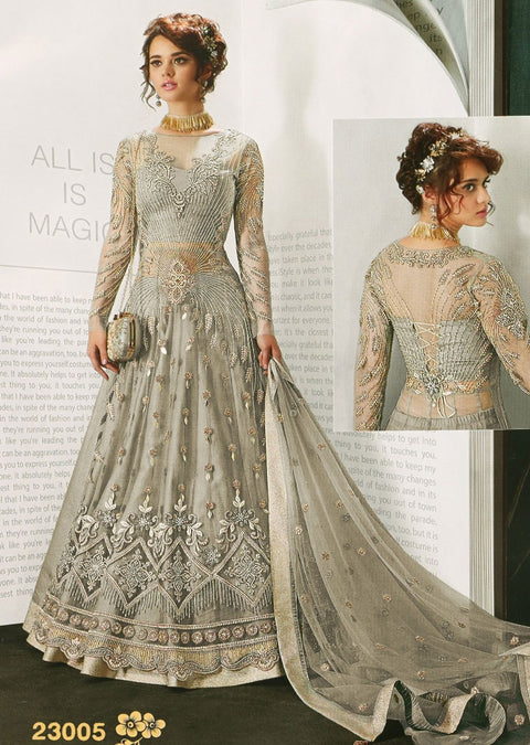 ZZ23005 Unstitched - Grey - Zafreen Zoya Amrose Replica - Indian Designer Long Net Dress - Memsaab Online