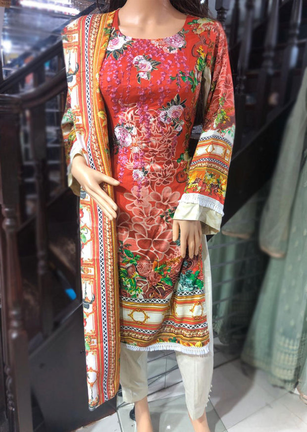 Red Readymade Embroidered Linen Suit with Wool Shawl - Memsaab Online