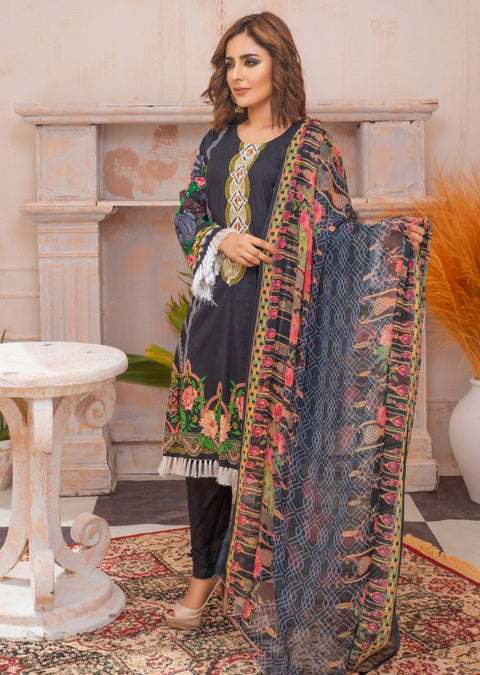 AMT20039 - Readymade Black Embroidered Lawn Suit - Memsaab Online