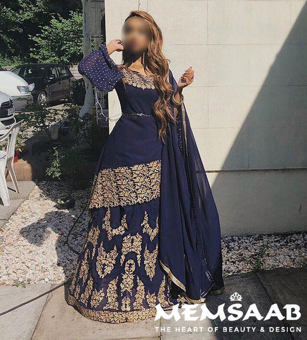 6005 - Unstitched - Blue - Violet Inspired Gown - Indian Ethnic Indo Western Style Skirt Suit - Memsaab Online