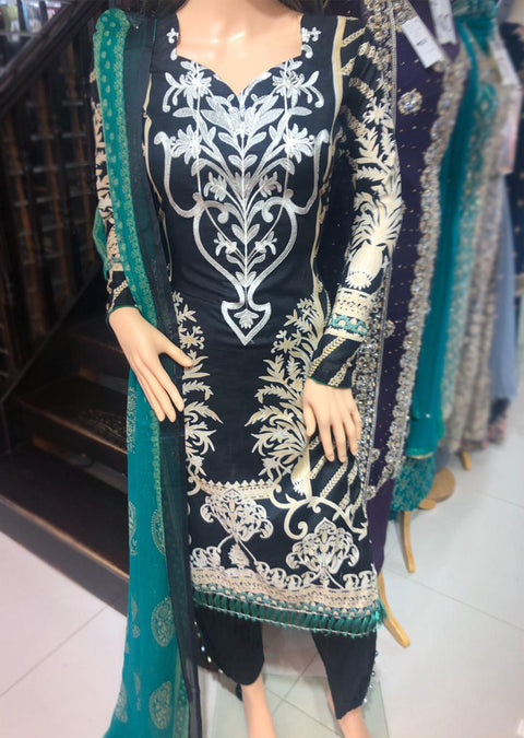AMT11004 Black / Green Readymade Embroidered Lawn Suit - Memsaab Online