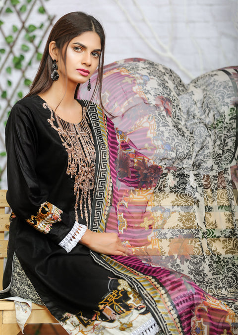 AMT1101 - Black - Memsaab Festive Lawn - Readymade - Pakistani Embroidered Designer Ready to Wear Suit - Memsaab Online
