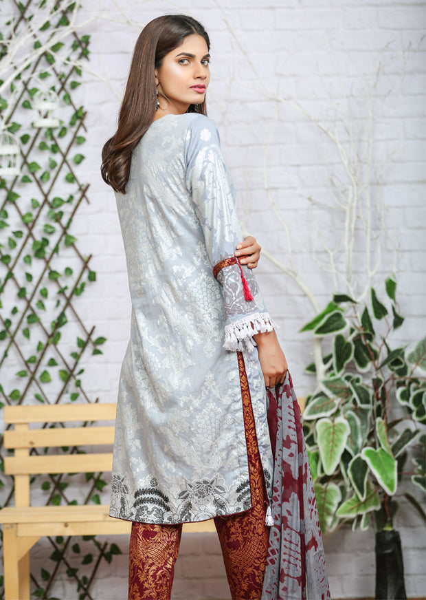 AMT1102 - Grey - Memsaab Festive Lawn - Readymade - Pakistani Embroidered Designer Ready to Wear Suit - Memsaab Online