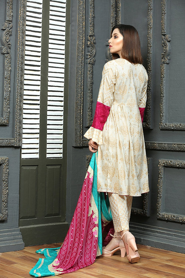 AMT1301 Readymade - Cream - Pakistani Designer Embroidered Lawn Suit by Memsaab - Memsaab Online