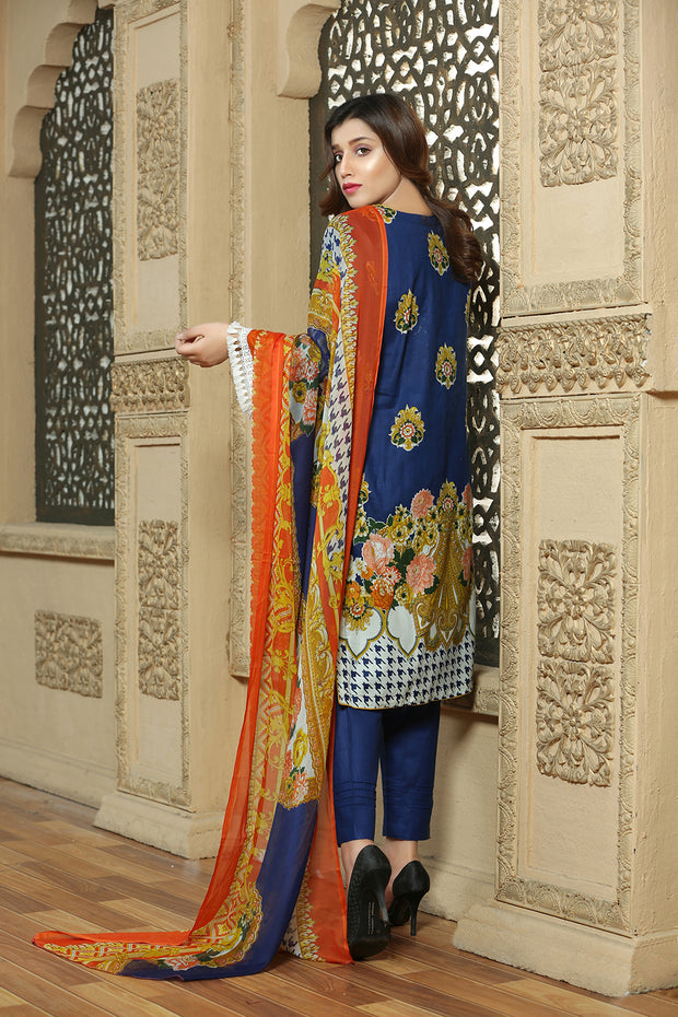 AMT1309 Readymade - Blue - Pakistani Designer Embroidered Lawn Suit by Memsaab - Memsaab Online