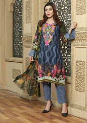 AMT1311 Readymade - Grey - Pakistani Designer Embroidered Lawn Suit by Memsaab - Memsaab Online
