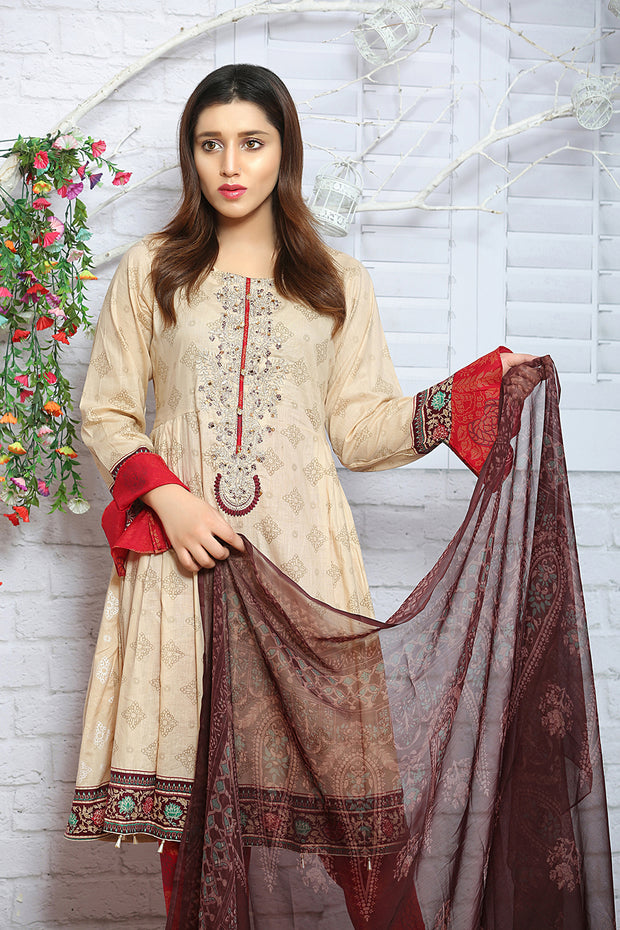 AMT1315 Readymade - Gold - Pakistani Designer Embroidered Lawn Suit by Memsaab - Memsaab Online